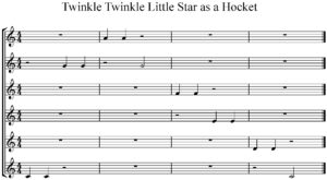 Twinkle, twinkle little star notated as a hocket