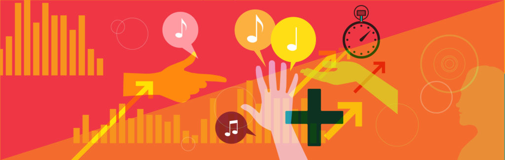 Illustration of hands speech bubbles and music