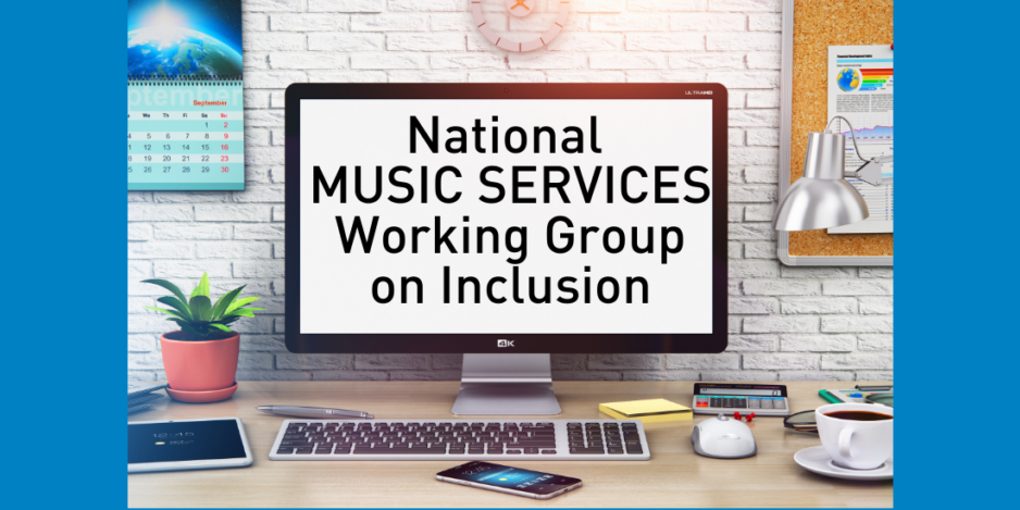 Image of computer and text on the screen: National Music Services Working Group on Inclusion